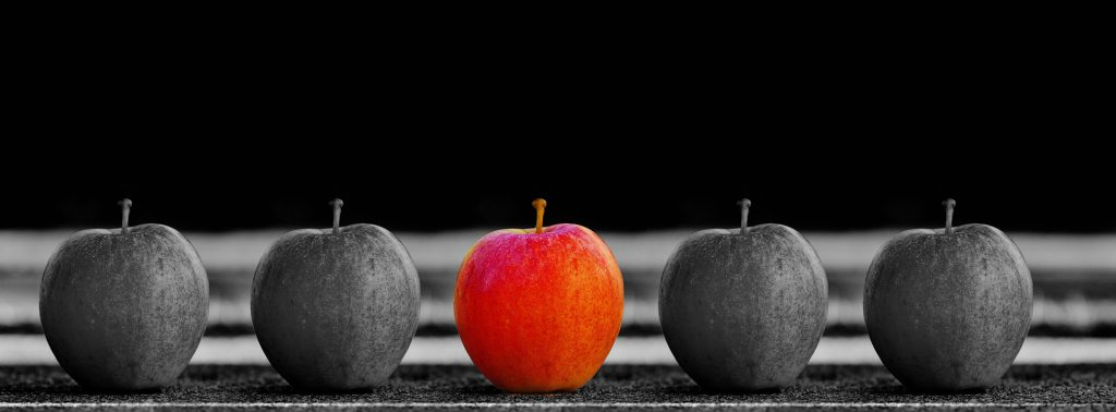 Five apples - four exactly the same in black and white and one as a symbol of the individual in natural red.