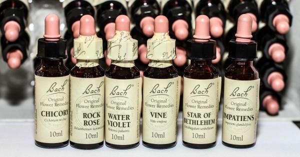 Das Bild zeigt eine Reihe von Bachblüten-Präparaten in den typischen Stock Bottles aus braunem Glas.