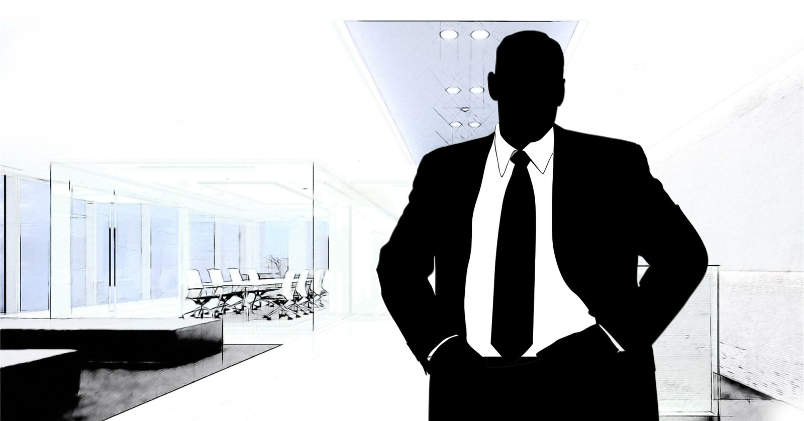 Manager in front of conference room