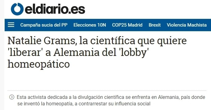 The Spanish online newspaper eldiario.es about homeopathy criticism in Germany