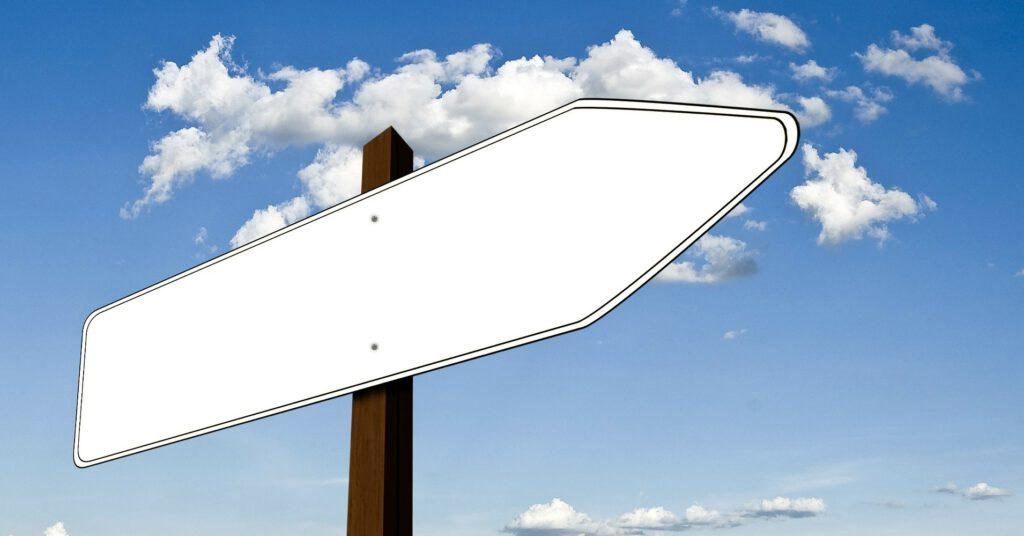 Picture shows an empty signpost, showing the logical impasse of the homeopathic teaching
