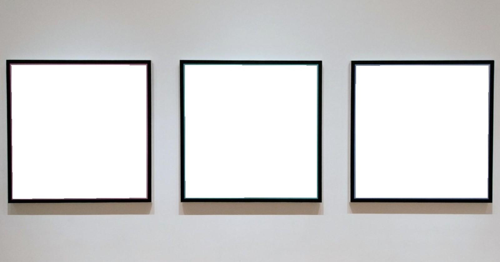 Three empty canvasses...