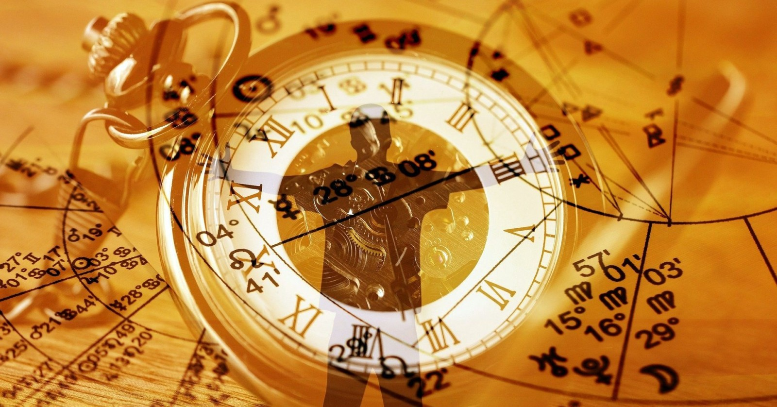 Astrological map, clock and sceptical person - a metaphorical illustration of the Twitter name